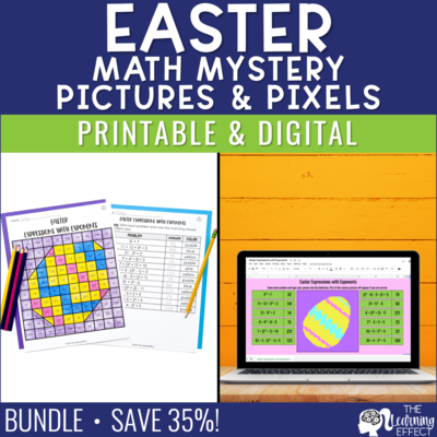 Easter Math Mystery Pictures and Pixel Art BUNDLE | Print and Digital