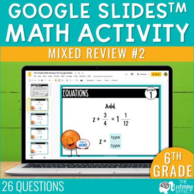 6th Grade Math Review #2 Google Slides End of Year | Digital Math Activity