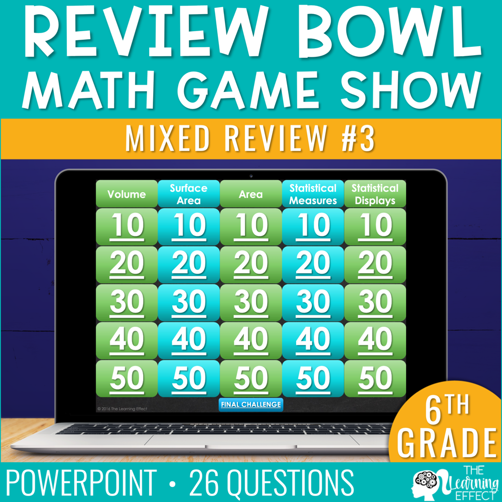 6th Grade Math Review #3 Game Show End of Year