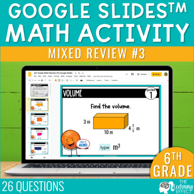 6th Grade Math Review #3 Google Slides End of Year | Digital Math Activity