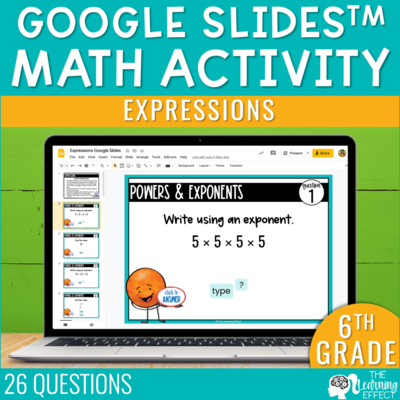 Expressions Google Slides | 6th Grade Digital Math Activity