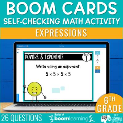 Expressions Boom Cards | 6th Grade Digital Math Activity