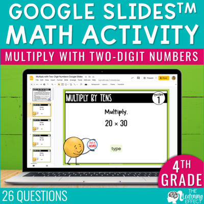 Multiply with Two-Digit Numbers Google Slides | 4th Grade Digital Math Activity