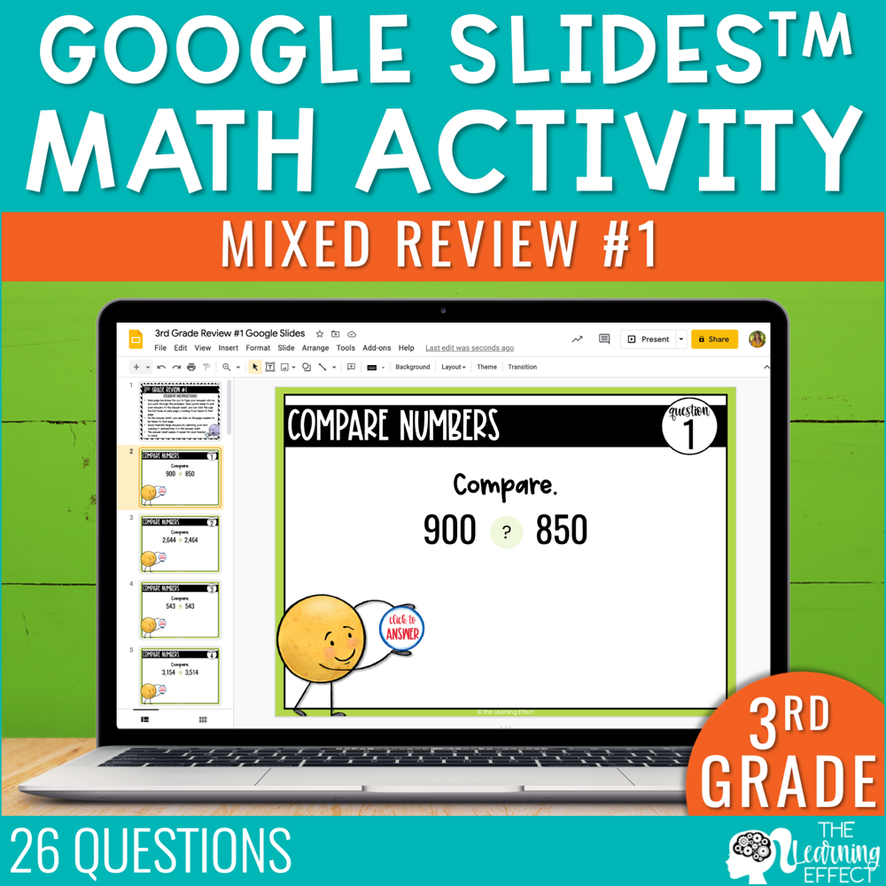 3rd Grade Math Review #1 Google Slides End of Year | Digital Math Activity