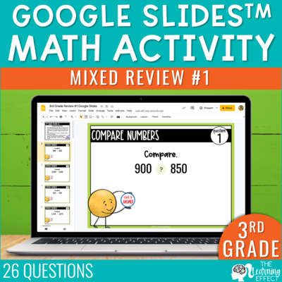 3rd Grade Math Review #1 Google Slides End of Year | Digital Math Activity