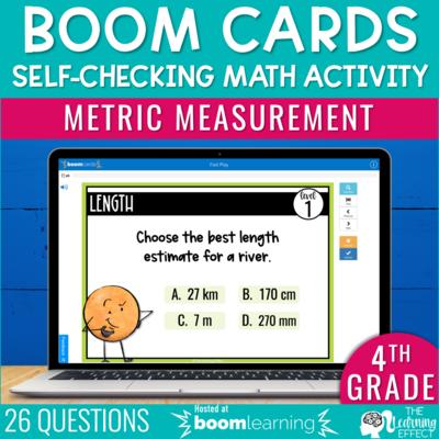 Metric Measurement Boom Cards | 4th Grade Digital Math Activity