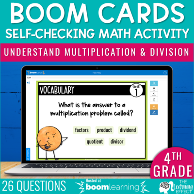 Understand Multiplication and Division Boom Cards | 4th Grade Digital Math Activity