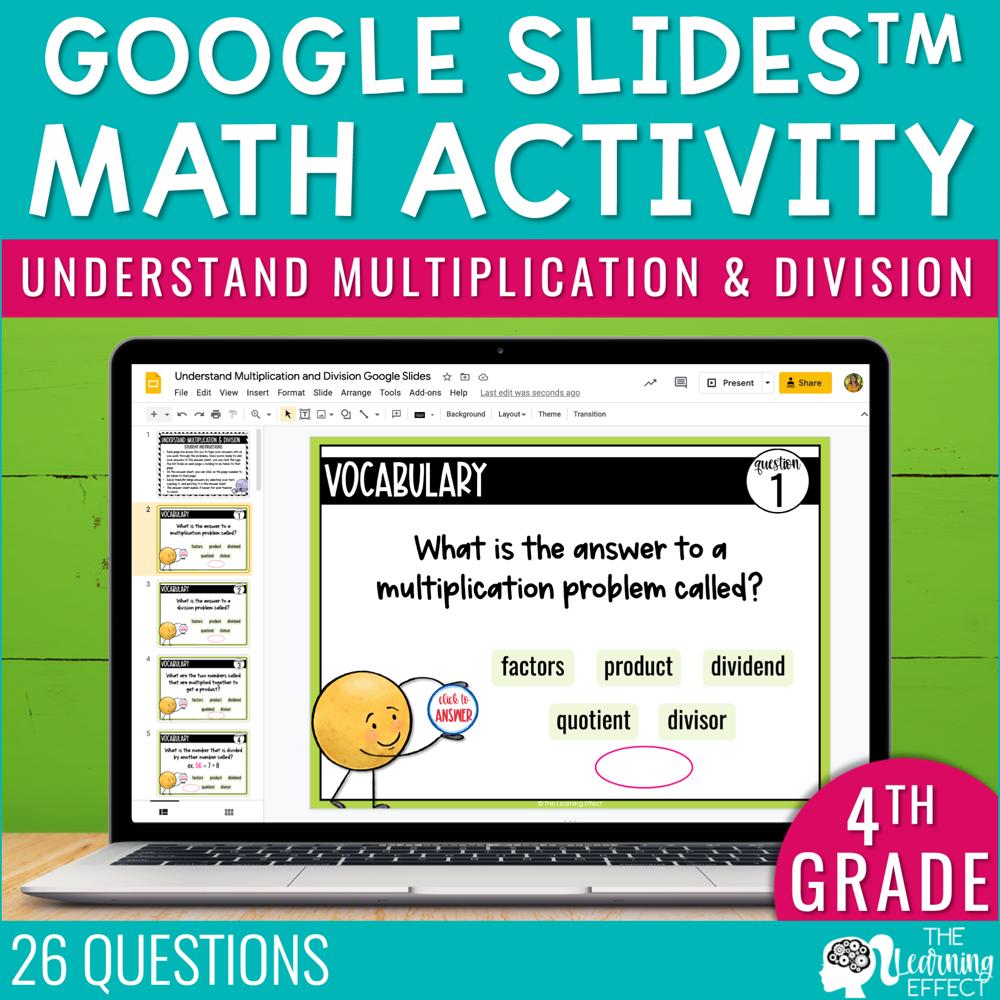 Understand Multiplication and Division Google Slides | 4th Grade Digital Math Activity
