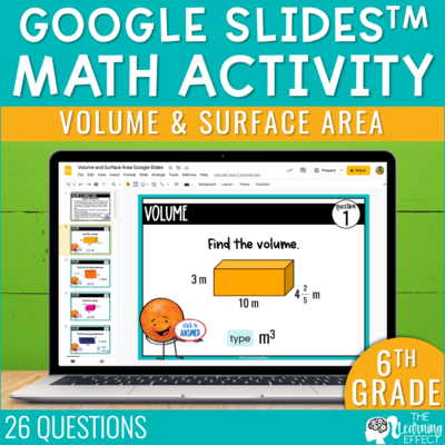 Volume and Surface Area Google Slides | 6th Grade Digital Math Activity