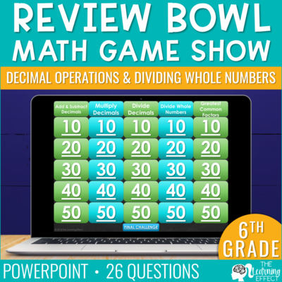 Decimal Operations and Dividing Whole Numbers Game Show | 6th Grade Math