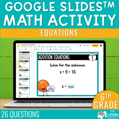 Equations Google Slides | 6th Grade Digital Math Activity