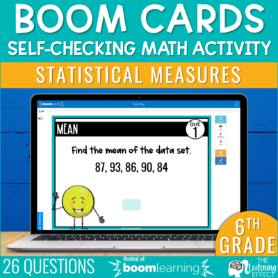 Statistical Measures Boom Cards | 6th Grade Digital Math Activity