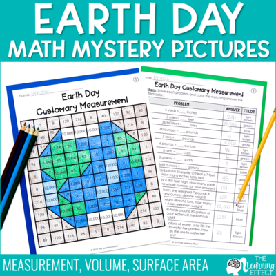 Earth Day Math Mystery Pictures | Measurement Volume Surface Area
