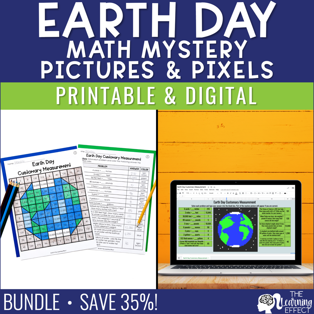 Earth Day Math Mystery Pictures and Pixel Art BUNDLE | Print and Digital