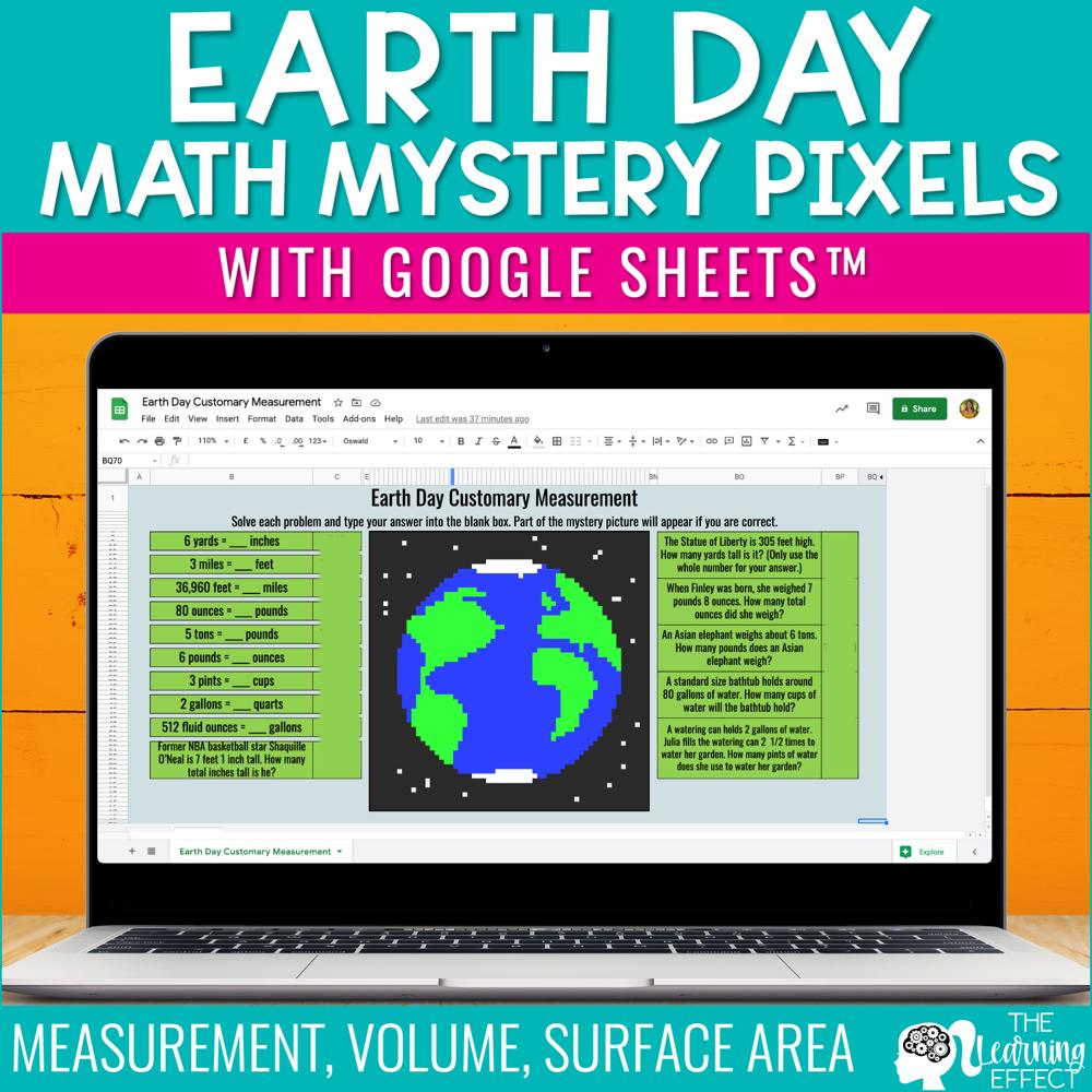 Earth Day Math Mystery Pixel Art Google Sheets   Digital Math Activity