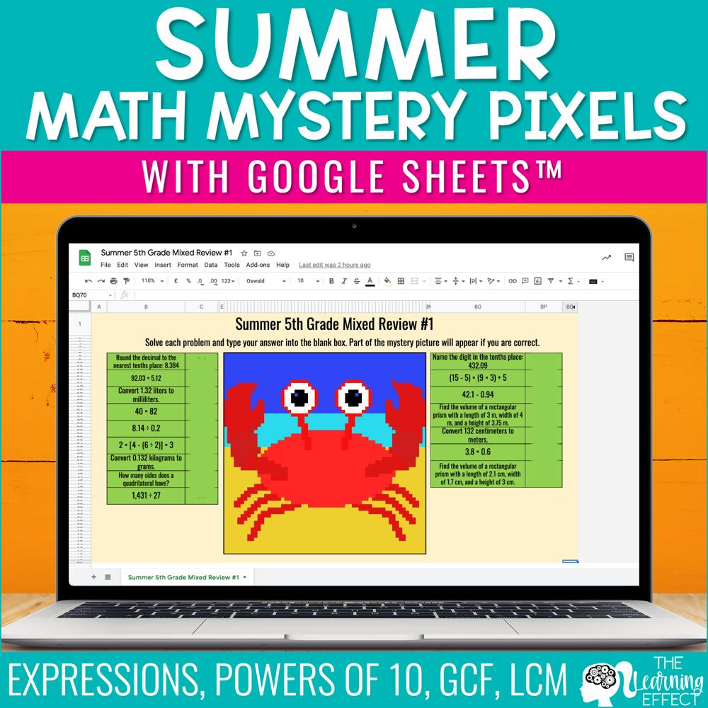 Summer Math Mystery Pixel Art Google Sheets | Digital Math Activity