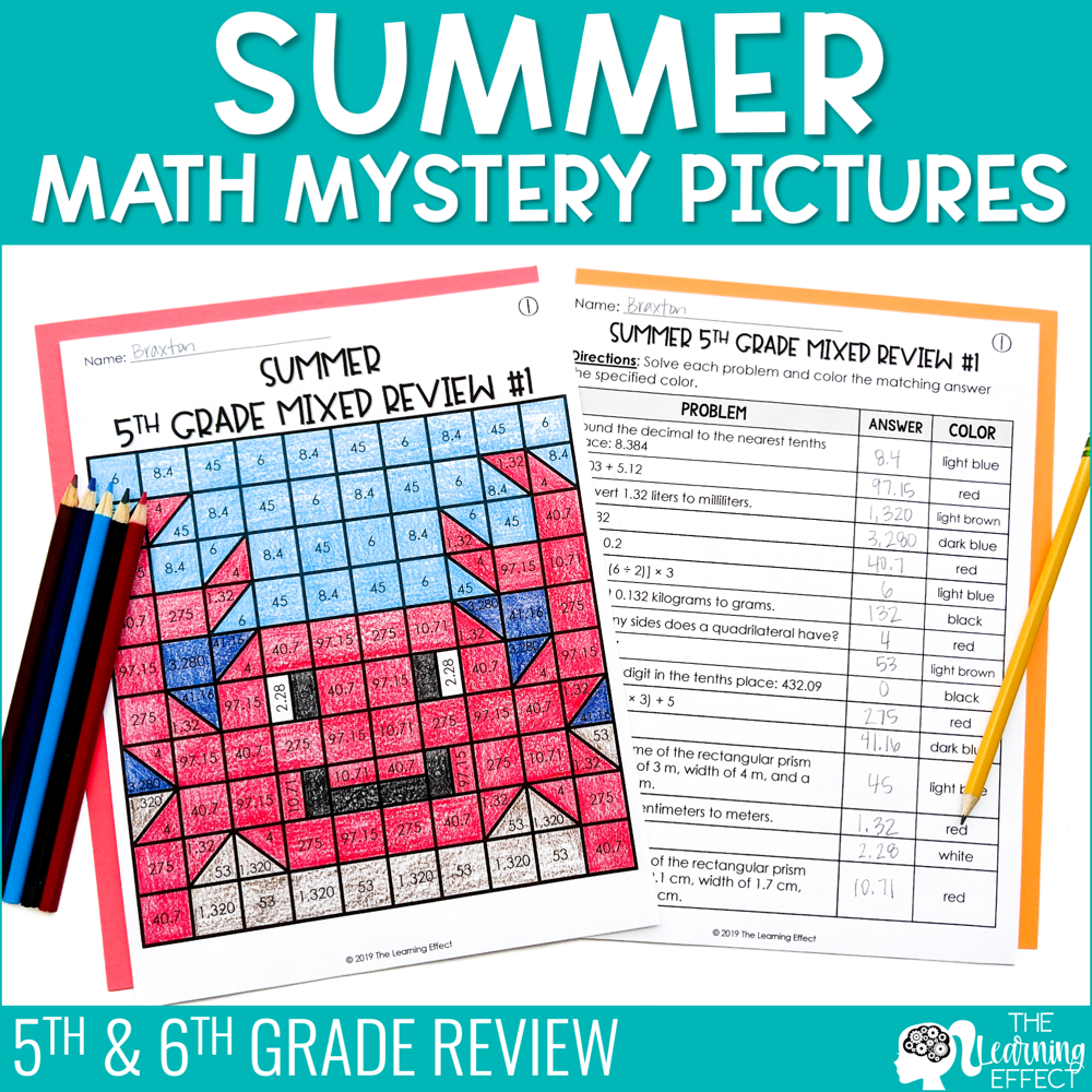 Summer Math Mystery Pictures | End of Year 5th Grade & 6th Grade Review