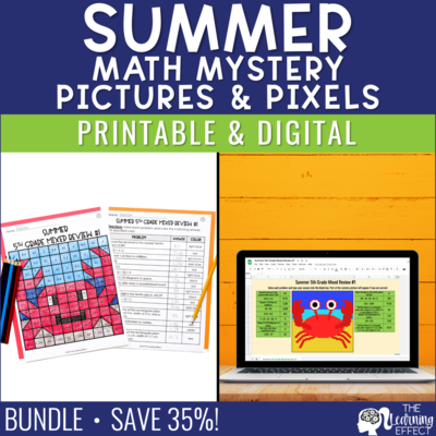Summer Math Mystery Pictures and Pixel Art BUNDLE | Print and Digital