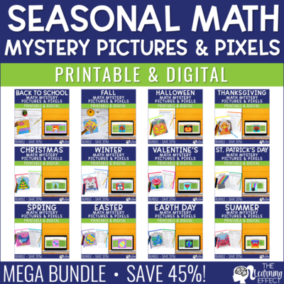Seasonal Math Mystery Pictures & Pixel Art Google Sheets BUNDLE Print & Digital