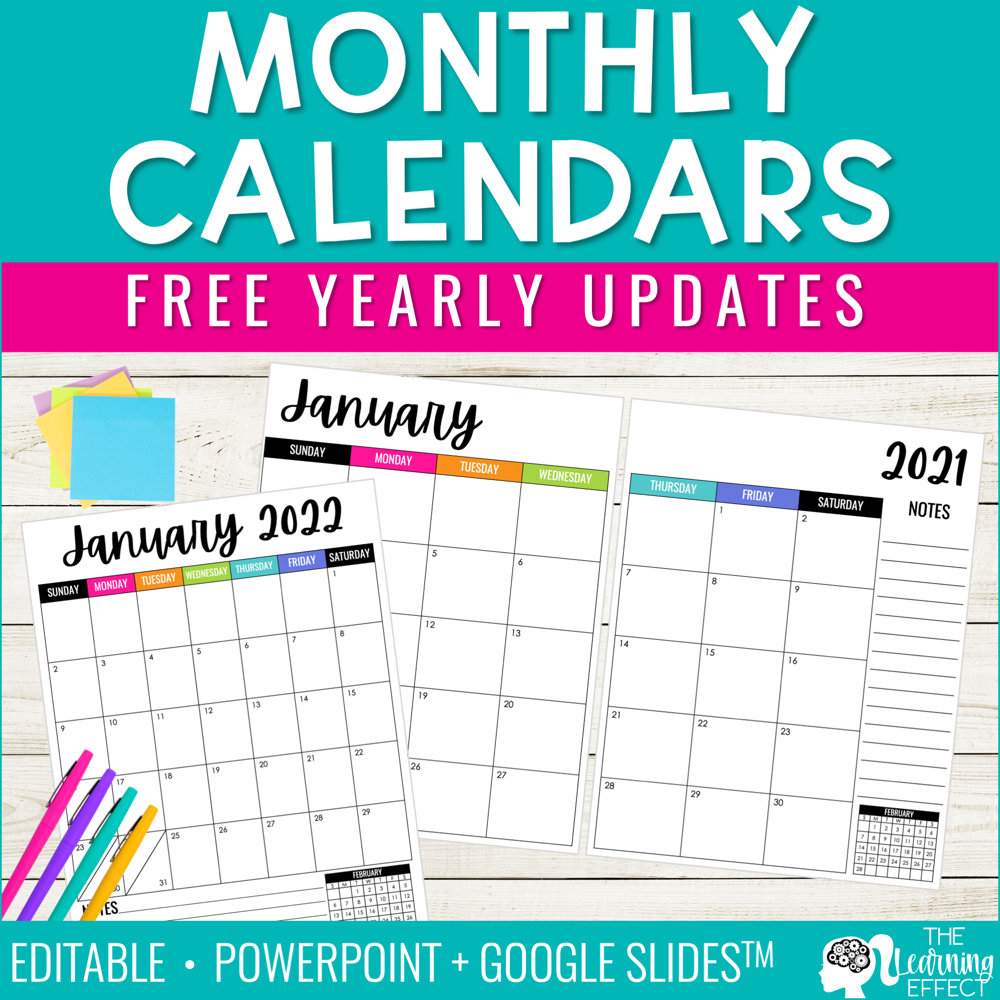 Editable Monthly Calendars 2021 2022 | Free Yearly Updates