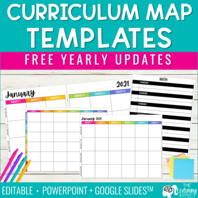 Editable Curriculum Map or Pacing Guide Template | Free Yearly Updates