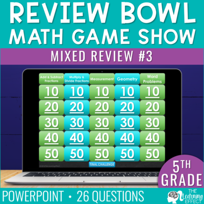 5th Grade Math Review #3 Game Show End of Year