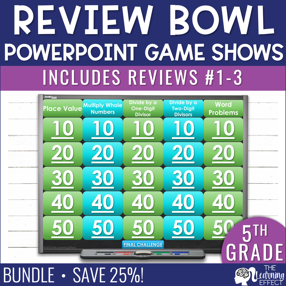 5th Grade Math Review #1-3 Game Shows End of Year BUNDLE