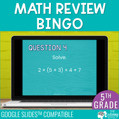 5th Grade Math Review Bingo Game for Google Slides | Digital Activity