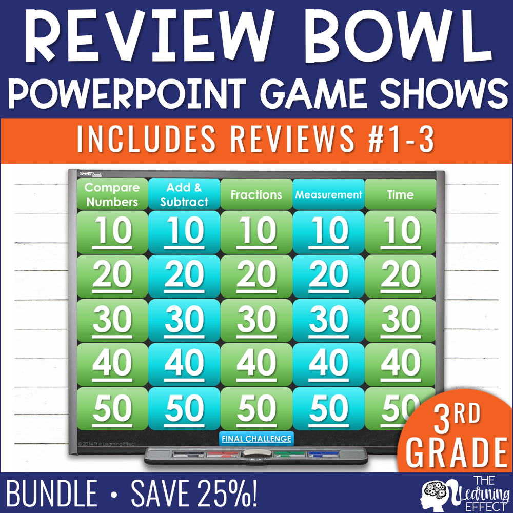 3rd Grade Math Review #1-3 Game Shows End of Year BUNDLE