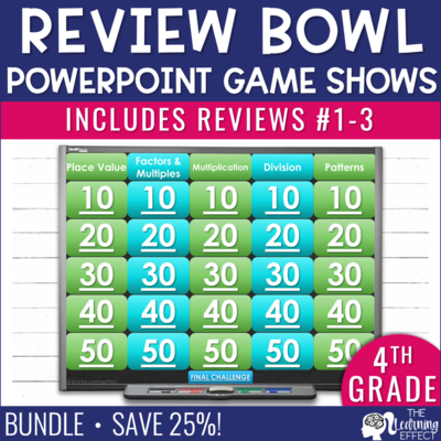 4th Grade Math Review #1-3 Game Shows End of Year BUNDLE