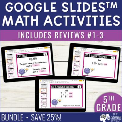 5th Grade Math Review #1-3 Google Slides End of Year BUNDLE