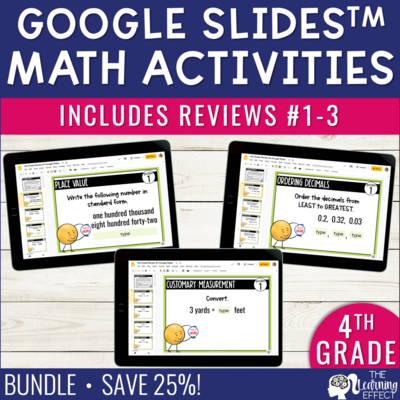 4th Grade Math Review #1-3 Google Slides End of Year BUNDLE