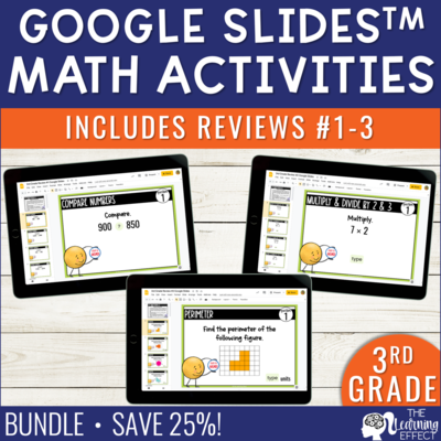 3rd Grade Math Review #1-3 Google Slides End of Year BUNDLE