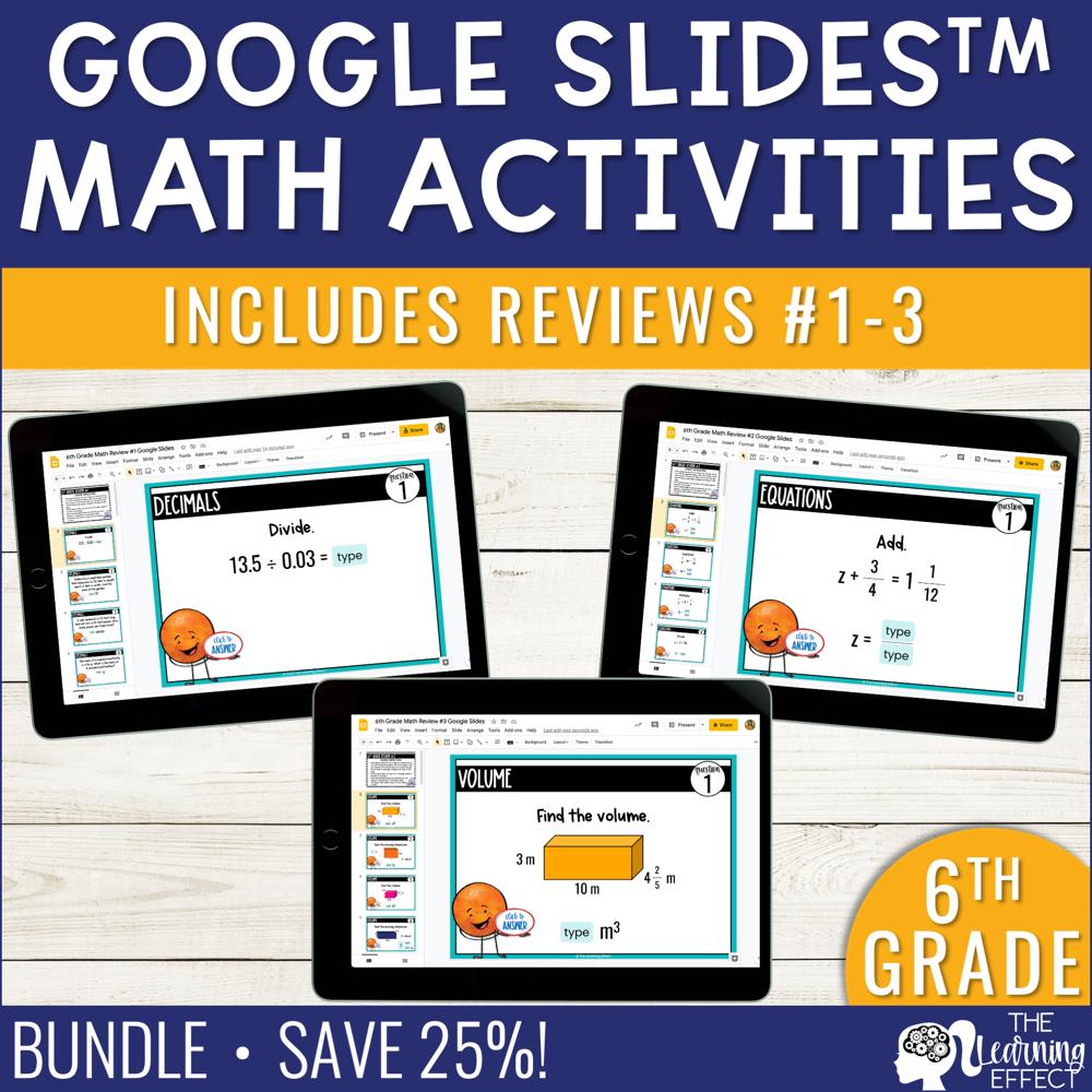 6th Grade Math Review #1-3 Google Slides End of Year BUNDLE