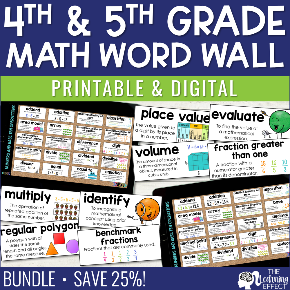 4th and 5th Grade Math Word Walls BUNDLE | Printable and Digital