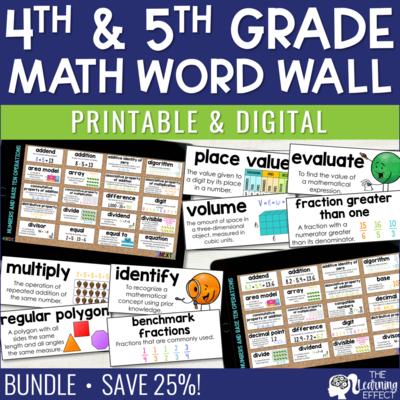 4th and 5th Grade Math Word Walls BUNDLE | Printable and Digital