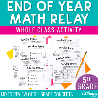 End of Year Math Game for 5th Grade   Decimals Fractions Multiplication Division
