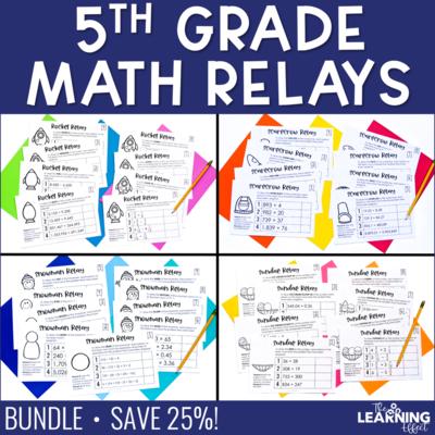 5th Grade Math Relay Game BUNDLE