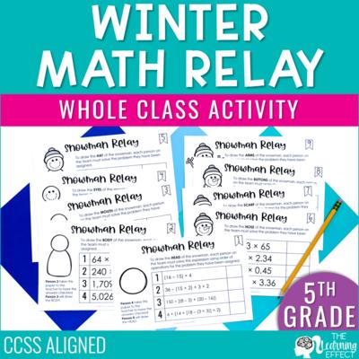 Winter Math Game for 5th Grade   Decimals Multiplication Division