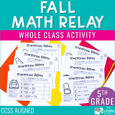 Fall Math Game for 5th Grade | Decimals Multiplication Division