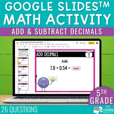 Add and Subtract Decimals Google Slides | 5th Grade Digital Math Activity