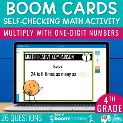 Multiply with One-Digit Numbers Boom Cards   4th Grade Digital Math Activity