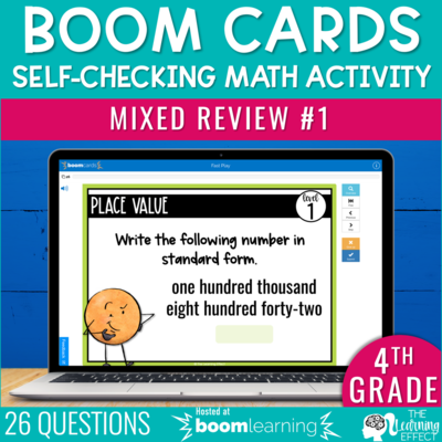 4th Grade Math Review #1 Boom Cards End of Year | Digital Math Activity