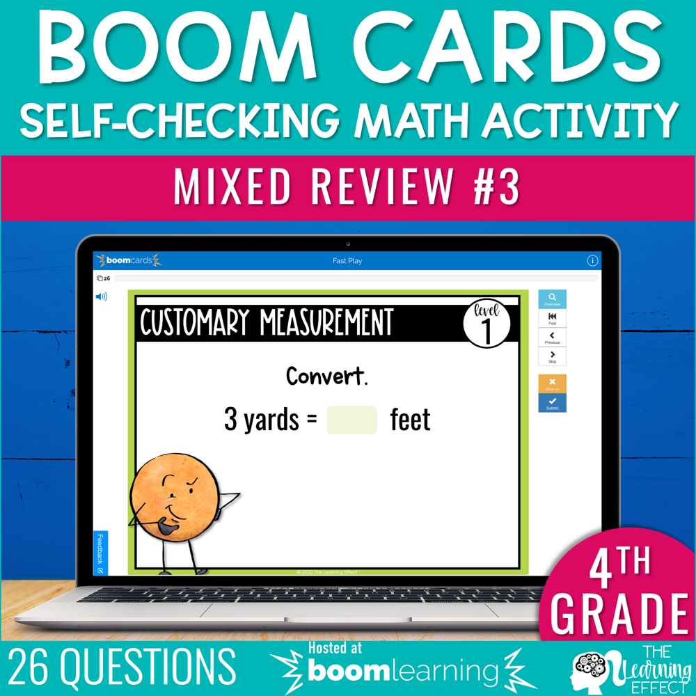 4th Grade Math Review #3 Boom Cards End of Year   Digital Math Activity