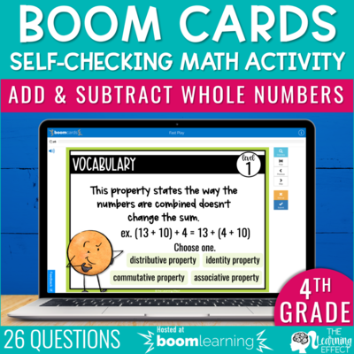Add and Subtract Whole Numbers Boom Cards | 4th Grade Digital Math Activity