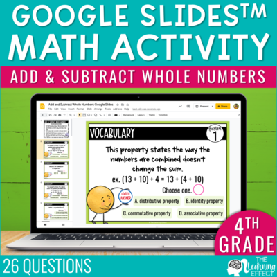 Add and Subtract Whole Numbers Google Slides | 4th Grade Digital Math