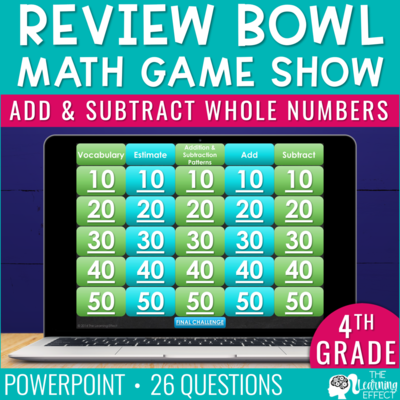 Add and Subtract Whole Numbers Game Show | 4th Grade Math
