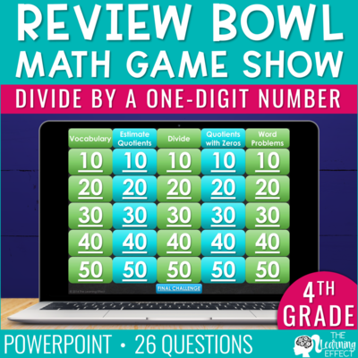 Divide by a One-Digit Number Game Show   4th Grade Math