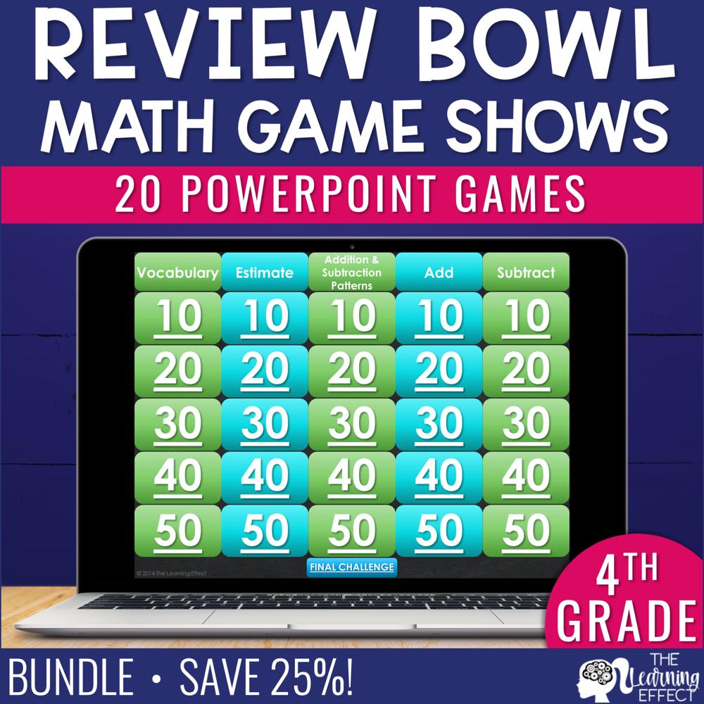 4th Grade Math Game Show Review BUNDLE