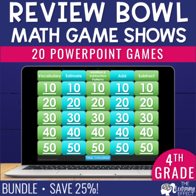 4th Grade Math Game Show Review BUNDLE